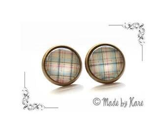 Polka dot Tartan Plaid Cabochon studs earrings