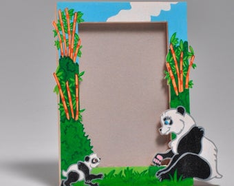 The Panda family wooden picture frame