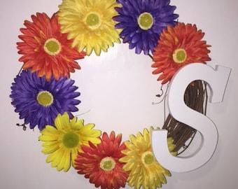 Cheerful Wreath, Gerber Daisy Wreath, Custom Wreath, Bright Color Wreath, Letter Initial, Farmhouse Wreath, Daisy Wreath