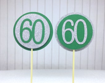 "60th Birthday Cupcake Toppers - Silver Glitter & Emerald Green ""60"" - Set of 12 - Elegant Cake Cupcake Age Topper Picks Party Decorations"