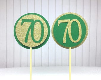 "70th Birthday Cupcake Toppers - Gold Glitter & Emerald Green ""70"" - Set of 12 - Elegant Cake Cupcake Age Topper Picks Party Decorations"