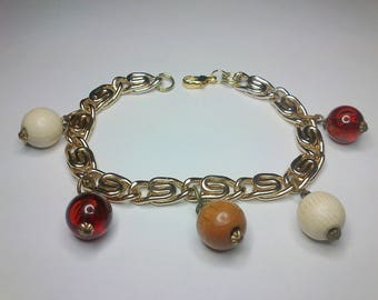 Gold chain bracelet with large beads