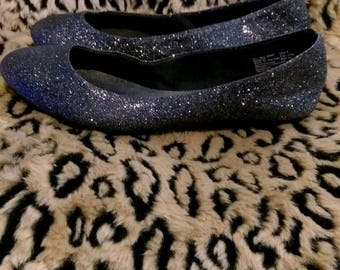 Nearly New Black Sparkly Ballet Flats