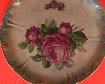 Antique Plate Roses Franz Anton Mehlem HP Royal Bonn German Porcelain (Rare)  gift for her
