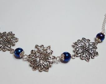 Large roses and blue Hematite bracelet