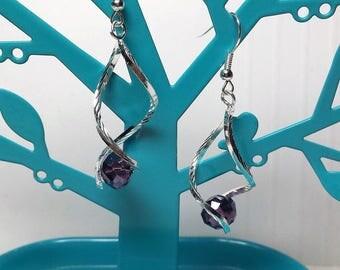 Earrings Bohemian purple amethyst Crystal waves