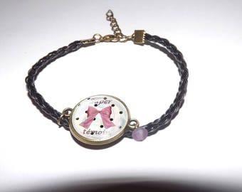 pretty leather bracelet black braid, with glass cabochon round 18mm, super light