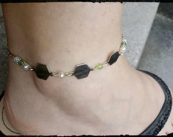 anklet / ankle Hexagon trio, green Crystal bead bracelet