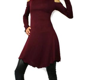 dress tunic, Burgundy mid long wool blend, open shoulders and long sleeves