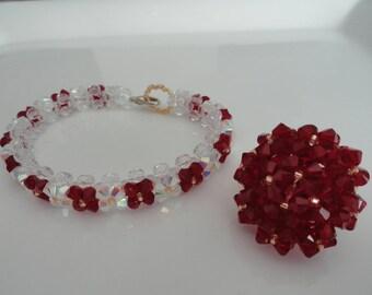 Dress woman red Swarovski Crystal beads