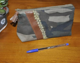 Cosmetic pouch - makeup - camouflage fabric and Brown leatherette