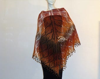 "shawl ""russet leaves"" knit"