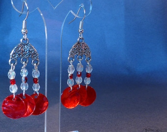 Red - flowered metal and mother of pearl earrings