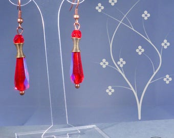 Spiral and drops earrings - red glass and copper