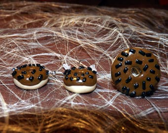 Set of dangling earrings + ring adjustable polymer clay chocolate donuts
