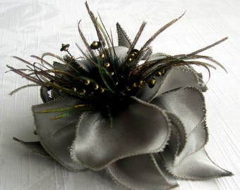 Big bow satin flower, feathers & beads