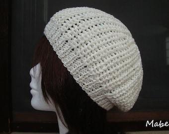 Ecru cotton, handmade, very soft knit UNIQUE Hat