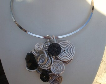 Pendant necklace, black, silver, Crystal and aluminum wire, wedding, party