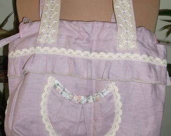 Old shabby rose color linen fabric bag romantic Bohemian