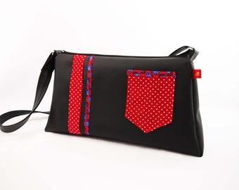 Shoulder bag / Hobo black and Red