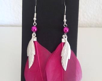 Fuchsia feather earrings