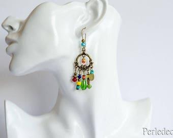 "Earrings colorful glass beads and bronze tone ""Sandra"""