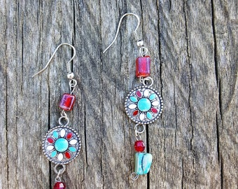 Native American Southwestern Jewelry, Boho Jewelry, Tribal Earrings, Turquoise Red & Silver Earrings, Turquoise Dangle Earrings, Handmade