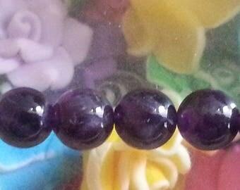 1 bead 8 mm in diameter, hole 1 mm genuine Amethyst