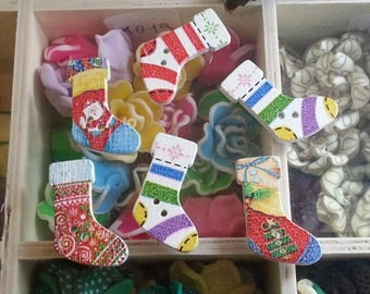 10 buttons 2 hole sock printed sew on buttons wooden, multicolor, 30 x 19 x 3 mm, hole: 1.5 mm