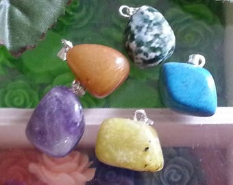 5 pendants in mixed gemstones, 12 ~ 2 x 10 ~ 17mm, hole: 3mm