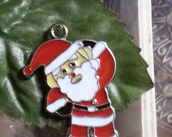 1 pendant Santa Claus enamel alloy for Christmas of 36mm