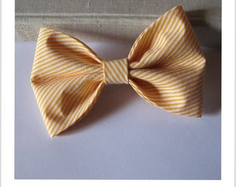 Bow tie and clip hair 2 in 1 yellow and white stripe