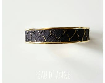 medium black gold leather cuff