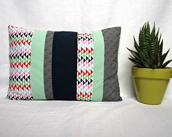 Pillow decor - Scandinavian inspiration - Mint, Navy and printed patchwork