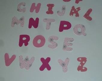 Alphabet letters, different color pink