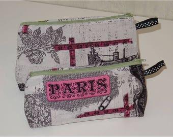Lot de 2 trousses Tissu gris motif PARIS COUTURE
