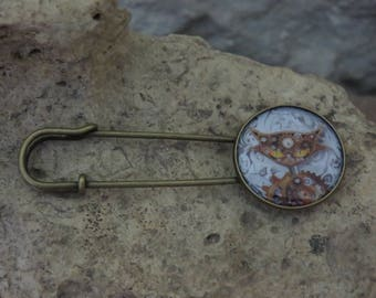 """""""Collection cat"""" safety pin brooch 1"""