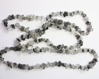 Gemstone Beads, Gray Beads, Organic Shape Chip Beads, Clear Beads, Black Beads, Natural Stone, DIY, BS213