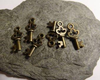 6 pcs 8mm key to lock romantic vintage bronze