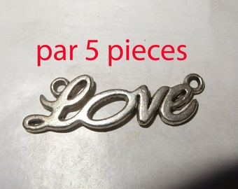 5 charm love connector in silver for pendant