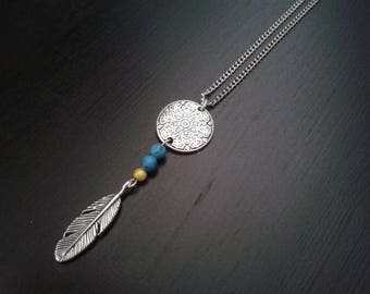 yellow feather necklace short medal ethnic