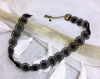 Vintage black Gothic lace Choker
