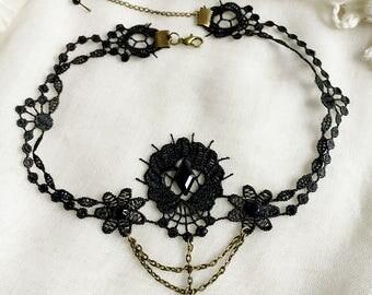 Black Bohemian party lace necklace