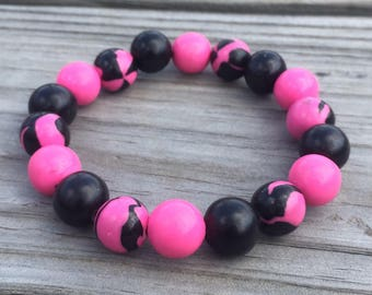 Black and Hot Pink Handmade Stretch
