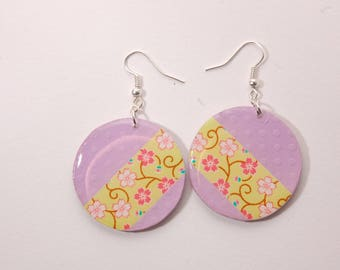 Earrings, green cherry blossoms lime, purple dots