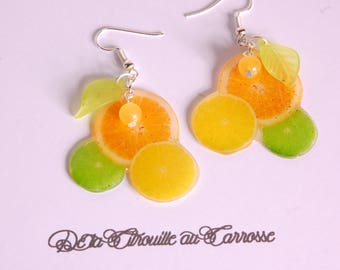 Earrings green, lemon yellow, lemon and grapefruit