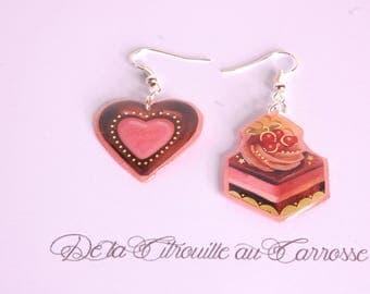 Earrings chocolate and strawberry chocolate cake