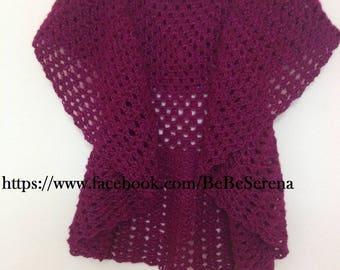 Round Eggplant Lady crochet vest