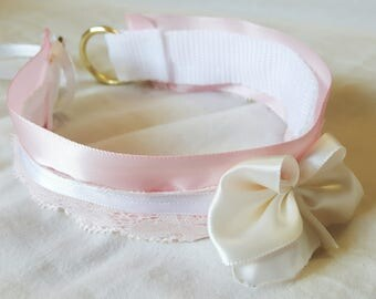 Pink and White Kitten Play Collar (Made to Order)