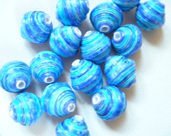 set of 17 blue paper beads